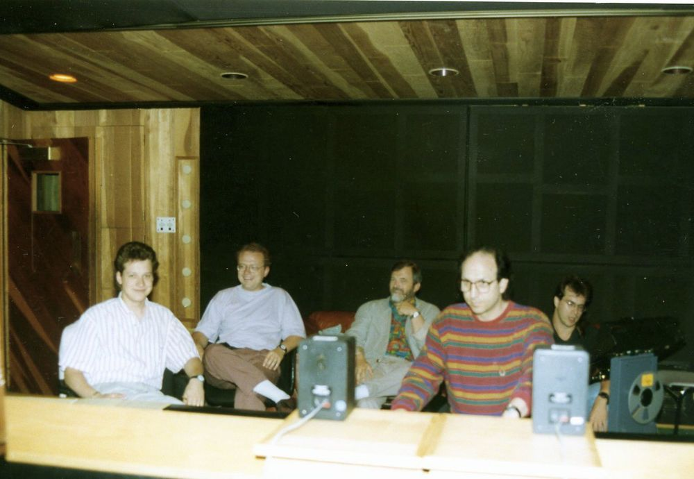 CW, Frank Chastenier, Harald Rosenbaum, Bernie Kirsh at Mad Hatter Studios (1993)
