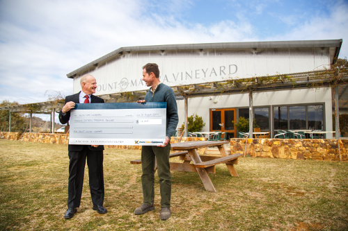 Paul Kane, Chair of YouthCARE Canberra, receiving the cheque from Frank van de Loo on behalf of the MMV team.