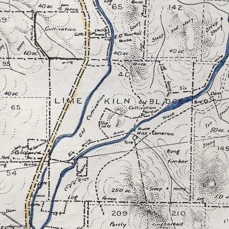 Detail from 1912 Federal Territory Map Sheet 4, showing the 'Lime Kiln Block' just south-east of the present-day Mount Majura Vineyard.