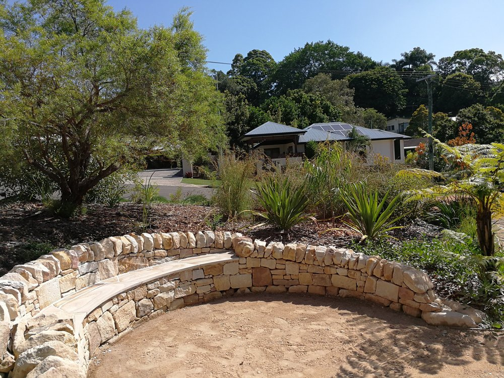 Dry Stack Helidon Sandstone Retaining Wall with Bench Seat.jpg