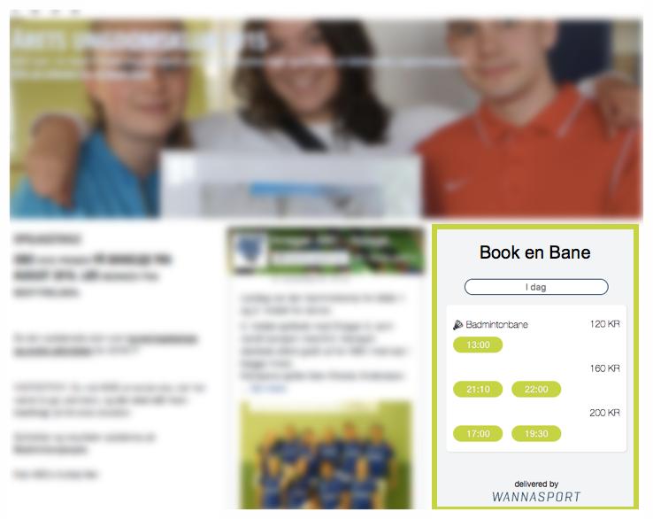 Embedded booking på foreningsside, hvor en brugertilpasset widget er integreret på forsiden af foreningens hjemmeside.