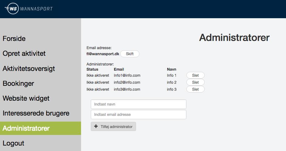 Eksempel på, hvordan en autogeneret email kan se ud, samt en listevisning over brugere der har tilkendegivet interesse. Hvis e-mail er synlig ønsker vedkommende, at blive kontaktet af udbyder.
