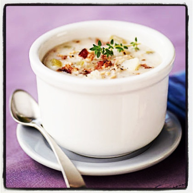 This recipe for clam chowder soup comes together in less than one hour, making it a perfect winter weeknight meal. By swapping out whole milk and heavy cream for fat free evaporated milk, you are able to enjoy a warm winter comfort without any of the guilt. You'll even have enough for lunch the next day!  COOK: http://goo.gl/kIMojQ  #RecipesforHealth #HealthyEating