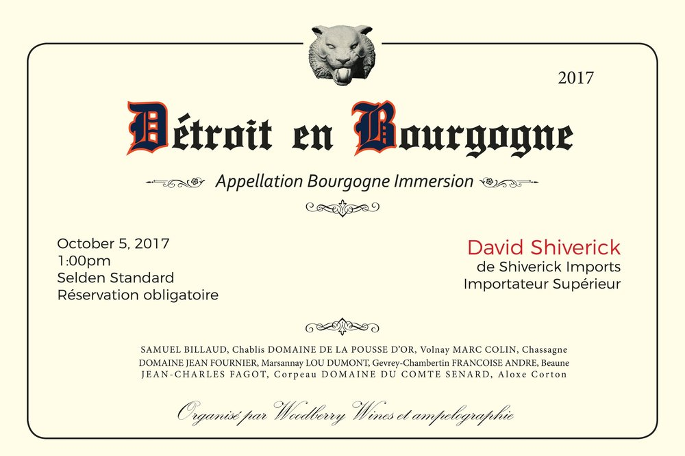 """An trade invite for a Burgundy seminar, hosted by David Shiverick. I tried to incorporate traditional elements from a Burgundy label, with Detroit flourishes. The classic old English lettering, played perfectly into the Detroit Tigers theme, I was able to utilize one of the actual fonts for the Detroit Tigers, along with their colors and a gargoyle from Comerica Park. The name of translates into French-""""Straight up Burgundy""""."""