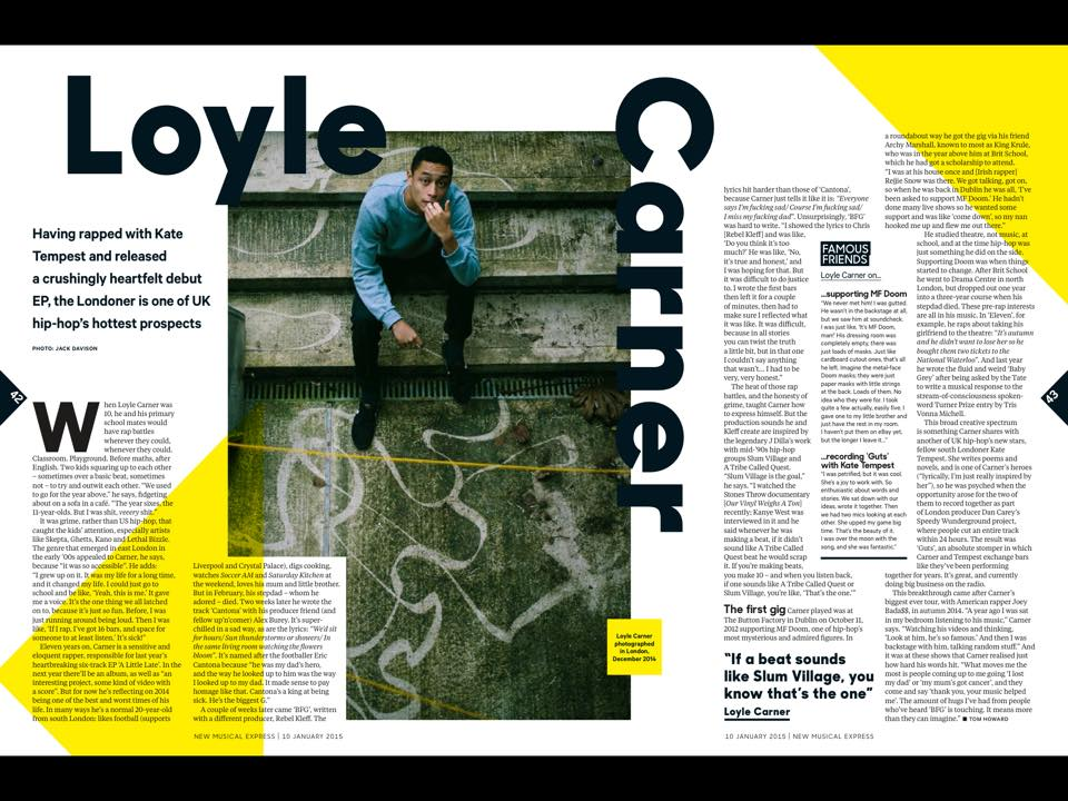 January 2014: Loyle Carner for NME Magazine.
