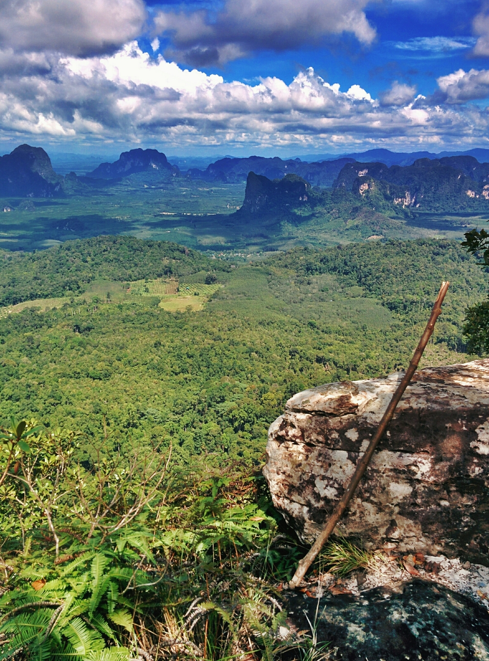 Symbolically resting my walking staff on our way down from a beautiful peak near Klong Muang Beach, Krabi, Thailand.