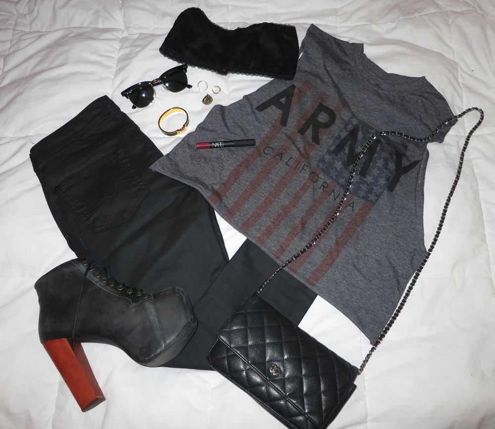 muscle tee: revolve clothing | coated pants: 7 for all mankind | bandeau: francesca's | boots: jeffrey campbell lita's | sunglasses: club master by ray-ban | crossbody: chanel | rings: urban outfitters | bracelet: hermes | matte lipstick: nars