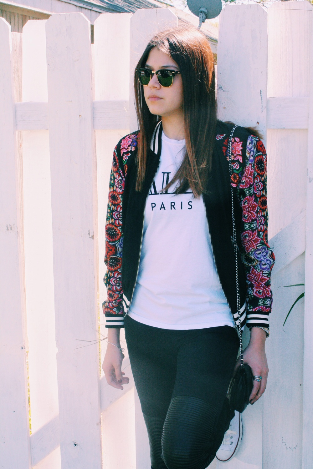 floral jacket: rebecca minkoff | muscle tee: the laundry room/revolve clothing | jeans: jbrand/shopbop | sneakers: converse | shades: ray ban | cross body: chanel | rings: urban outfitters/free people