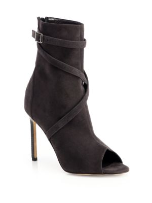 Manolo Blahnik Basella Suede Strappy Ankle Boots