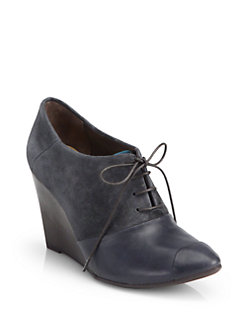 Coclico Jazmine Suede & Leather Oxford Wedge Ankle Boots