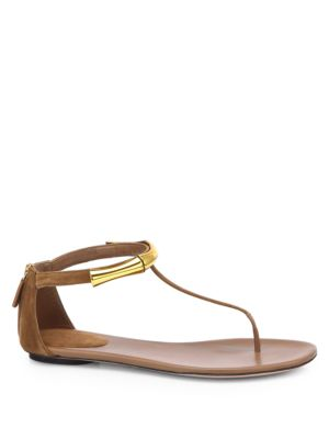 Gucci Coraline Suede Bamboo Thong Sandals