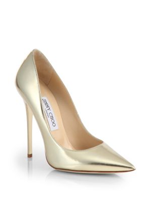 Jimmy Choo Anouk Metallic Leather Point Toe Pumps