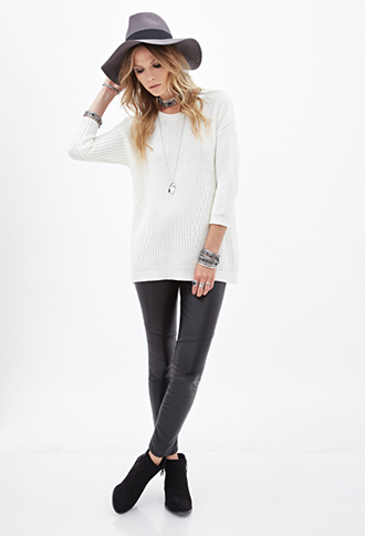 FOREVER 21 Longline Ribbed Knit Sweater Cream Large