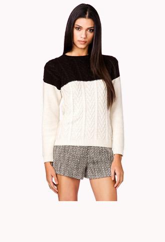 Colorblocked Multi-Knit Sweater