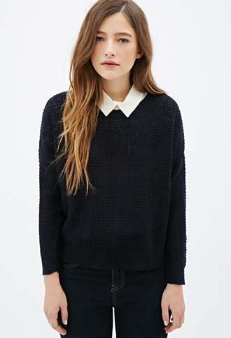 FOREVER 21 Easy Waffle Knit Sweater