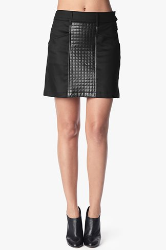 A-Line Skirt With Quilted Leather Panel In Black