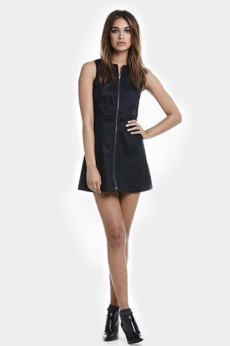 A-Line Dress W/Exposed Zipper In Black