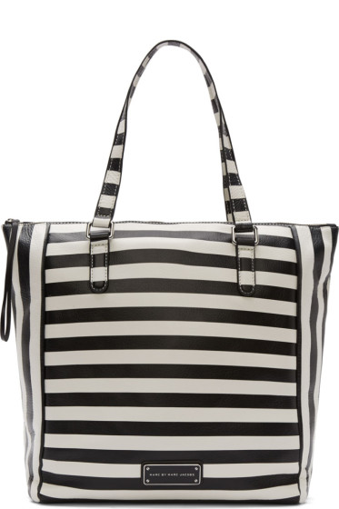 Marc by Marc Jacobs Black & White Striped Leather Take Me Tote