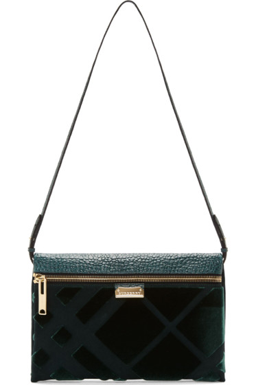 Burberry London Green Embossed Check Balmoral Clutch