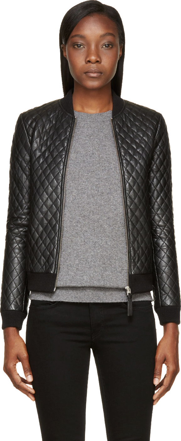 Mackage Black Leather Quilted Rosa Bomber Jacket