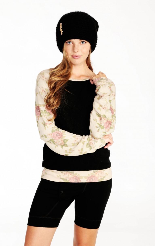 Black Rose Sleeves Baggy Beach Raglan