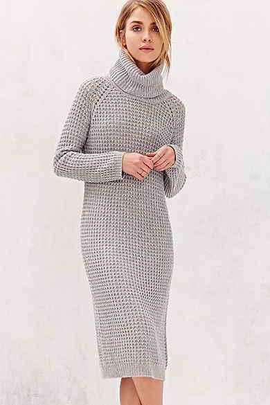BDG Cowl-Neck Sweater Midi Dress