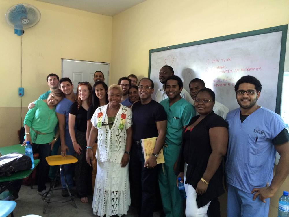 Between teaching modules. Our aim is to provide more hands-on training for Haitian medical students.