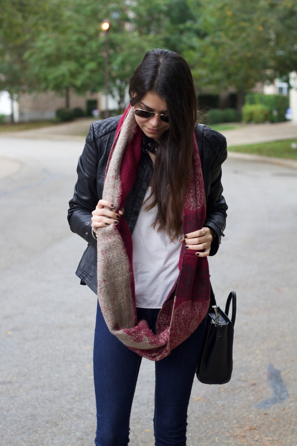 throw over the scarf, shake it a bit so you release any twists or folds and position the scarf so that it is comfortable on your neck