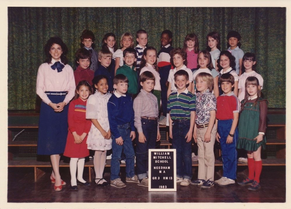- 1983: Sean Ellis pictured in top row, middle , in Miss Priscilla Santoro's 3rd Grade Class at the Mitchell Elementary School, Needham, MA. His friend, Mark Murphy, is the 4th student from left, first row.