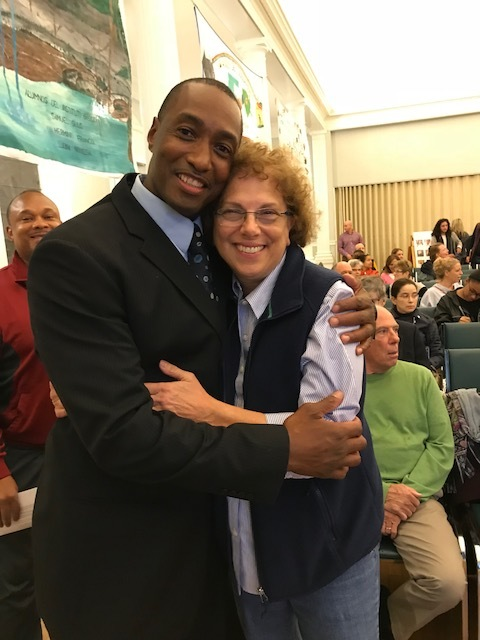 - 34 years later: Sean reunited with his former teacher, Mrs. Priscilla Santoro Fisch, at the NEIP event in Needham, Oct. 26, 2017