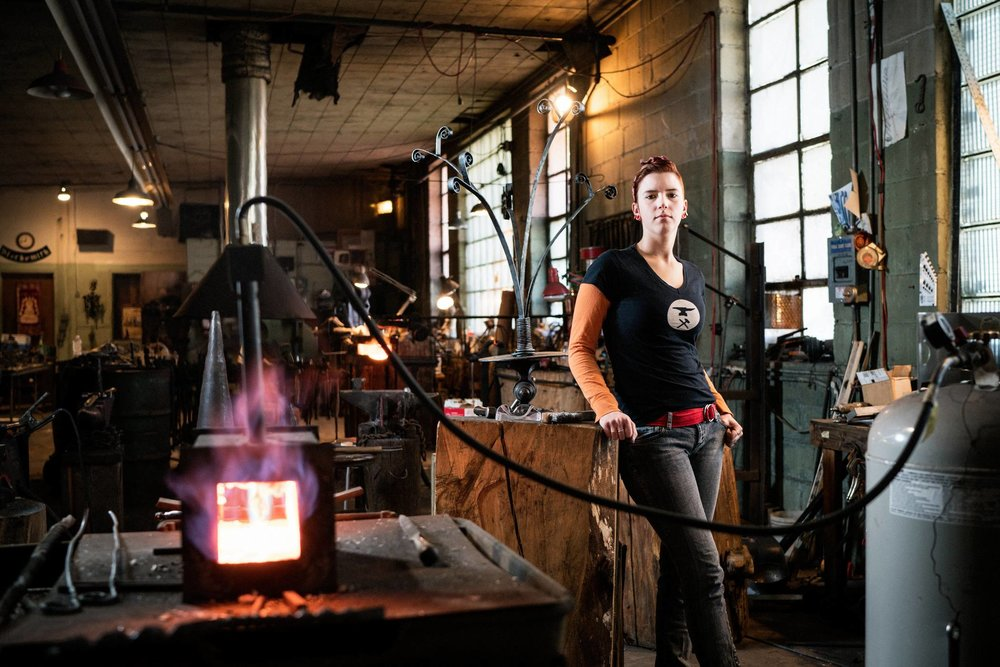 Zoey, Design Management and Apprentice Blacksmith // 4.8% Welding, Soldering, and Brazing Workers are Women