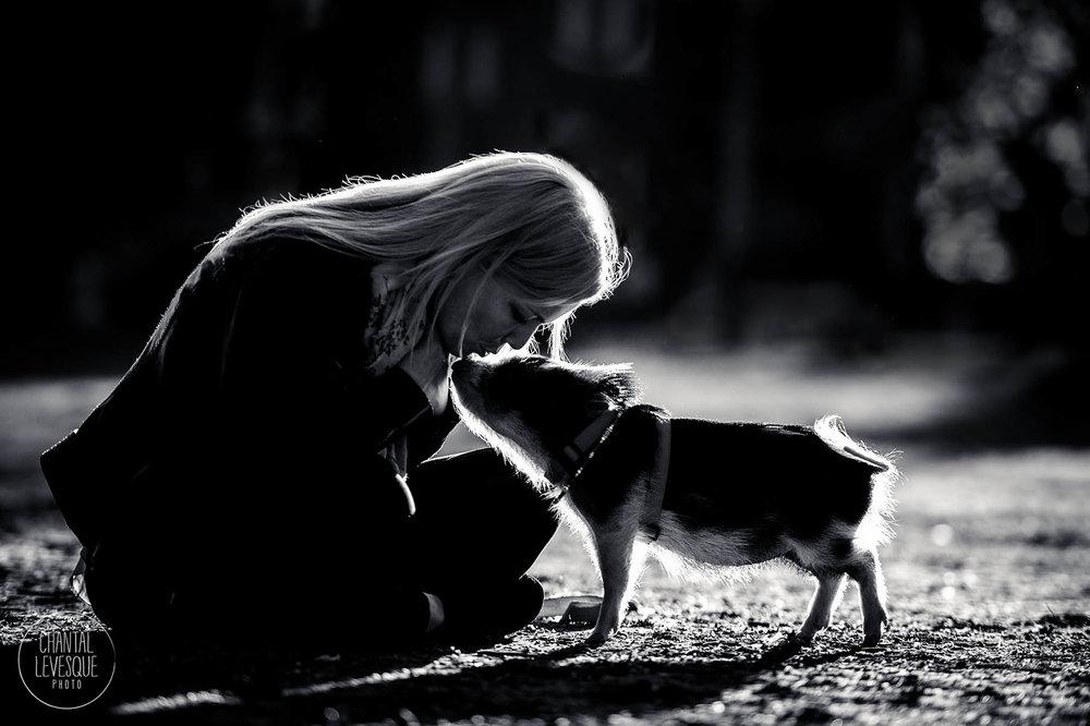 Rien à voir ici, juste un petit cochon qui donne un bisou à son humaine ///  Nothing to see here, just a piglet kissing her human!