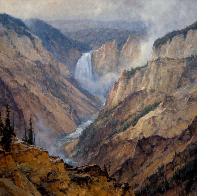 Painting of Yellowstone falls by Clyde Aspevig (Unknown Title)