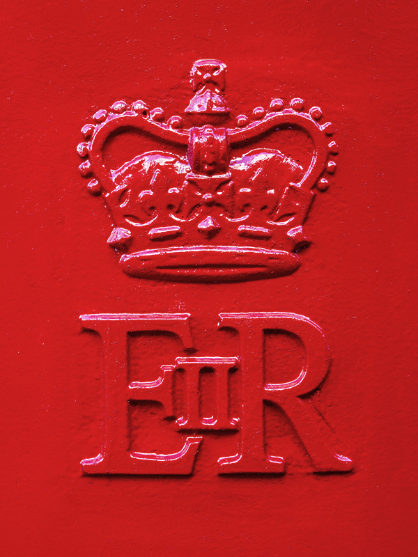 Monogram of Elizabeth Regina the Second (1952–) on an English cast-iron letter box.