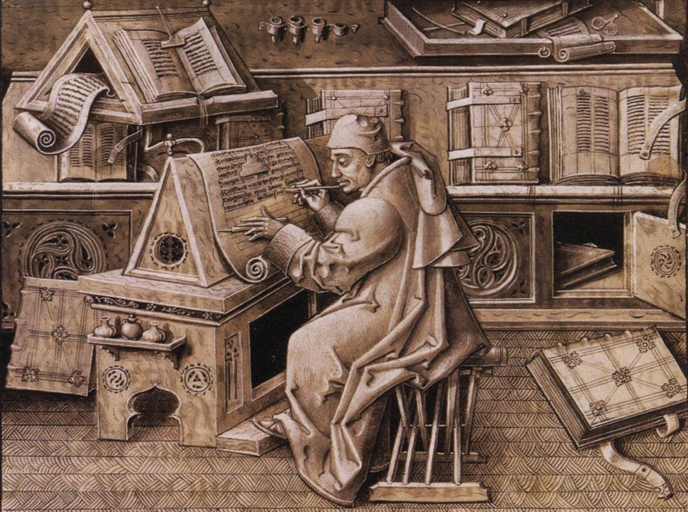 Shows a late medieval scribe from Flanders (probably). Note table with steep slope; barbless quill in right hand; quill knife in left hand (used to hold the vellum sheet down when writing); lead weight on string at top of page, holding it down.