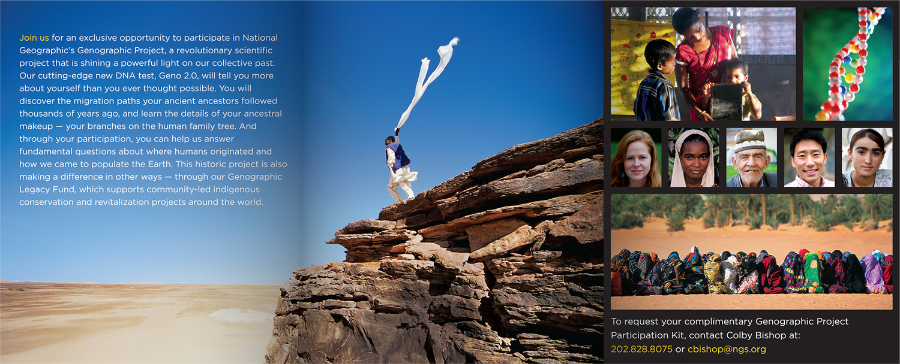 National Geographic Geno 2.0 / The Genographic Project / Brochure