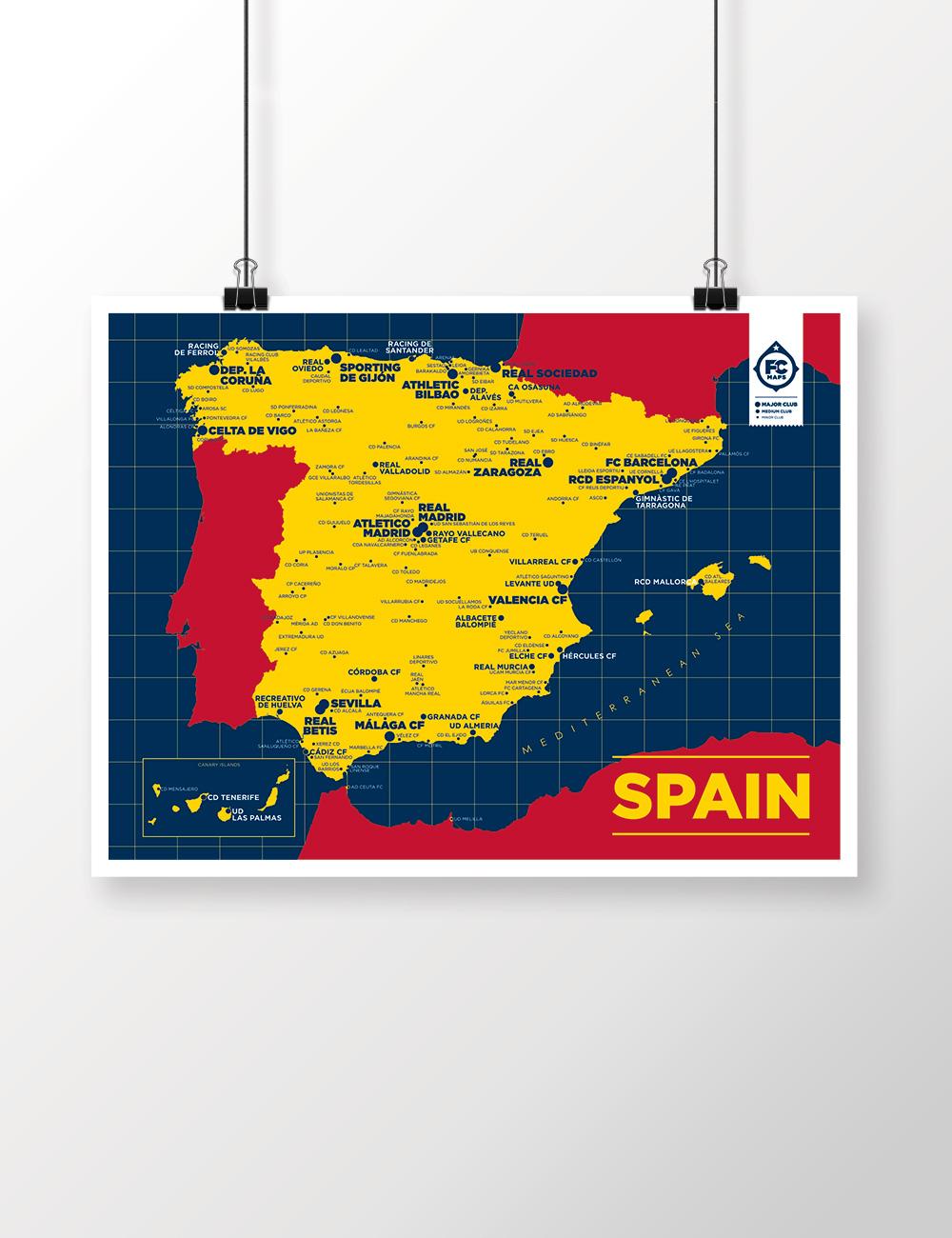 Spain Map Football Club Maps