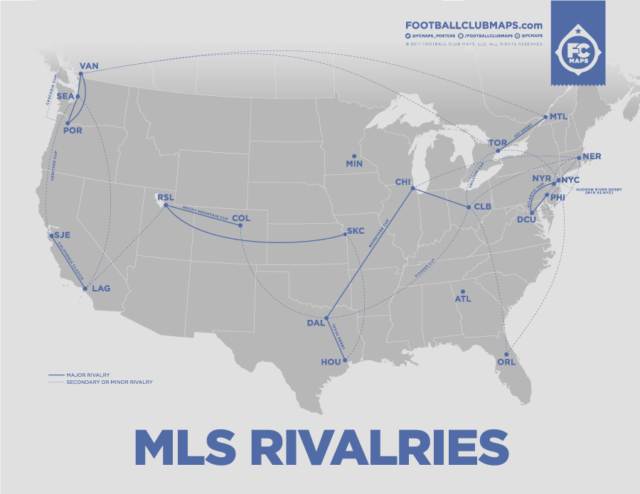 MLS Rivalries by FootballClubMaps.com
