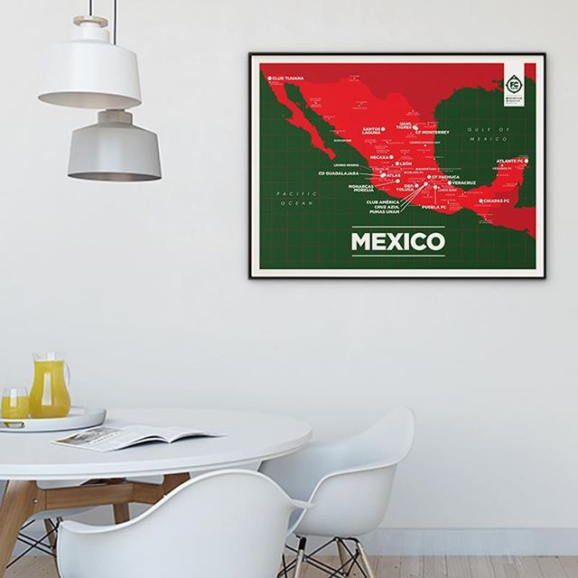 Our latest poster is now up for sale! Get yours today! https://www.footballclubmaps.com/shop/mexico-map