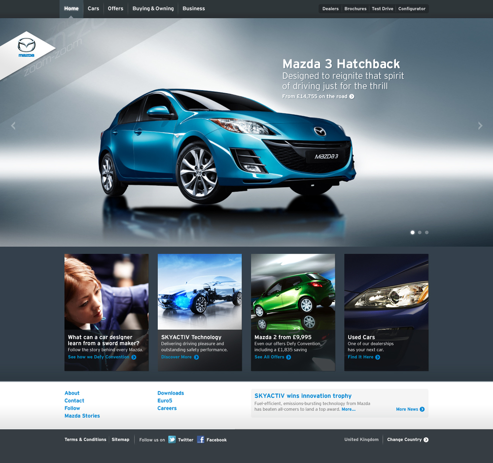 Mazda.co.uk Wins 2013 Best Web Design Award