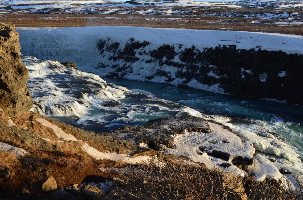 The waterfalls of Gullfoss (Golden Falls)