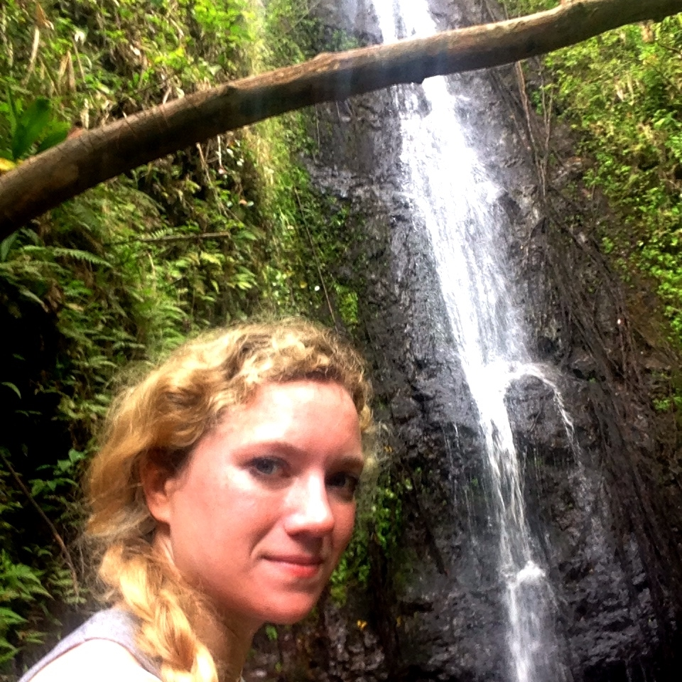 View of the waterfall I hiked to in Hawaii without breaking an ankle or dying on the way.  When you hike alone, you learn that you just have to keep moving forward, no matter what.