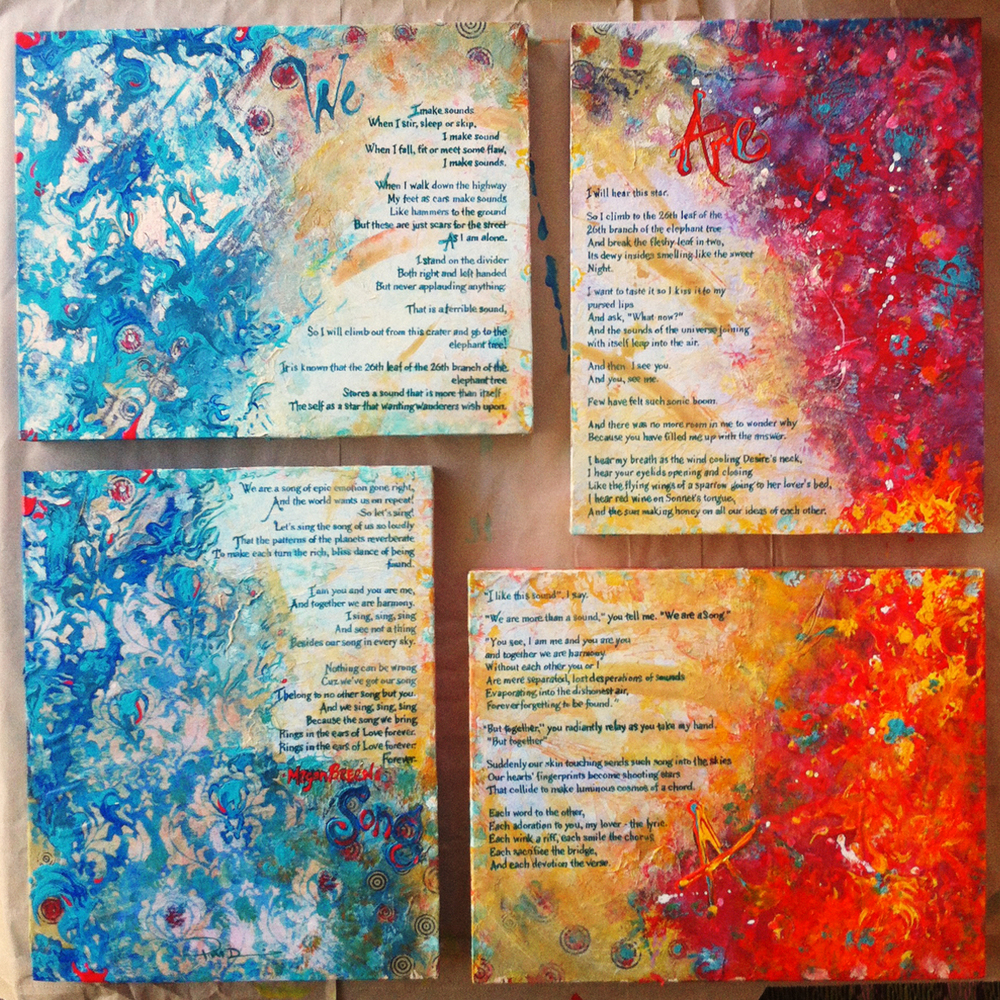 Painting (2012). A mixed media layered four-paneled private commission featuring the inscribed words of playwright Megan Breen.