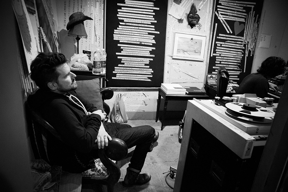 Listening to playback off the reels at Playground Sound, Nashville, TN (2014). Photo Stacie Huckeba.