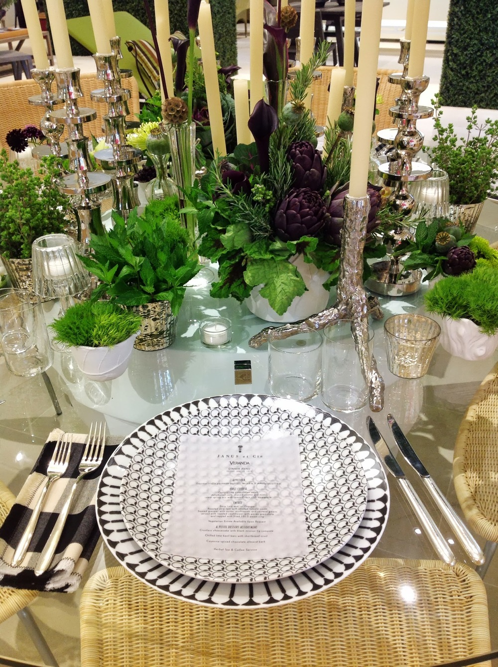 Launch Party- JANUS et Cie Modern Table Arrangement by Maxit Flower Design in Houston, Texas