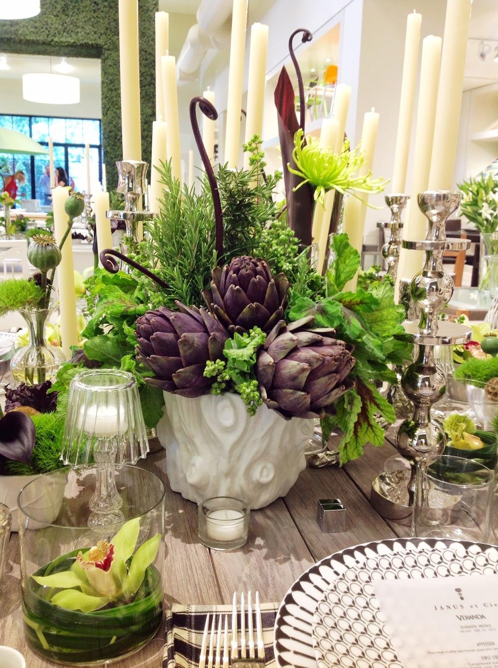 Launch Party- JANUS et Cie Artichoke Centerpiece by Maxit Flower Design in Houston, Texas