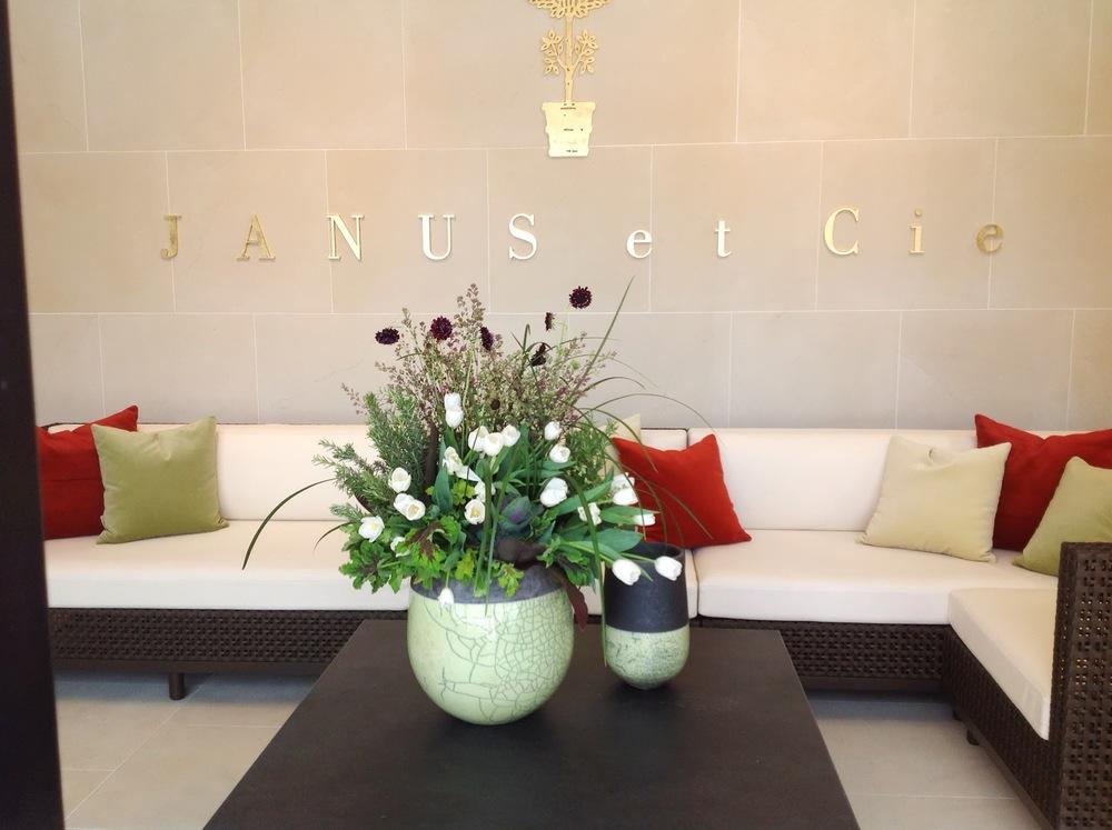 Launch Party- JANUS et Cie Modern Flower Entry Arrangement by Maxit Flower Design in Houston, Texas