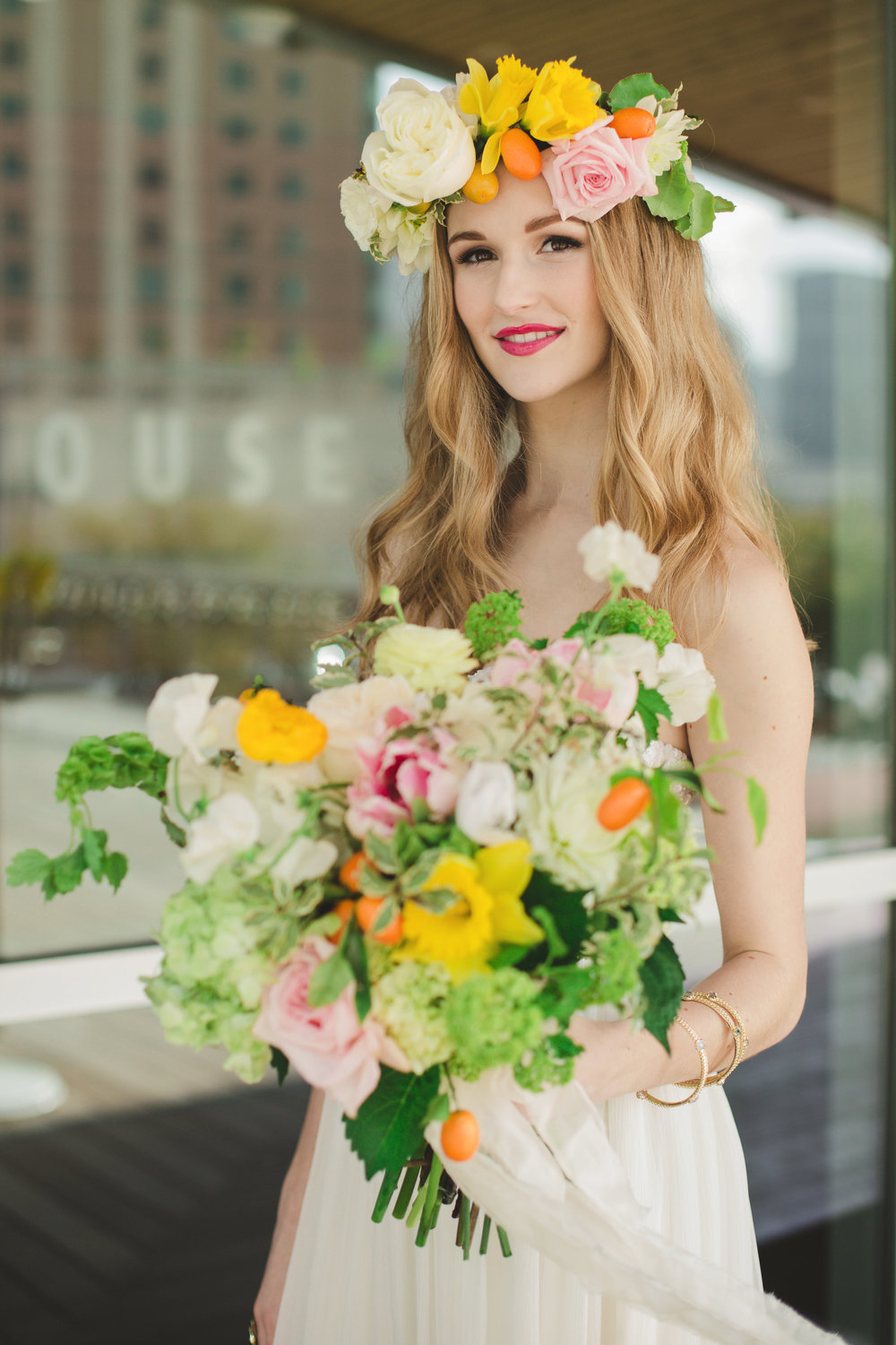 Citrus Summer Bouquet and Floral Crown