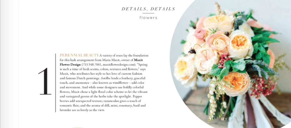 Houston Brides Magazine Maxit Flower Design Feature