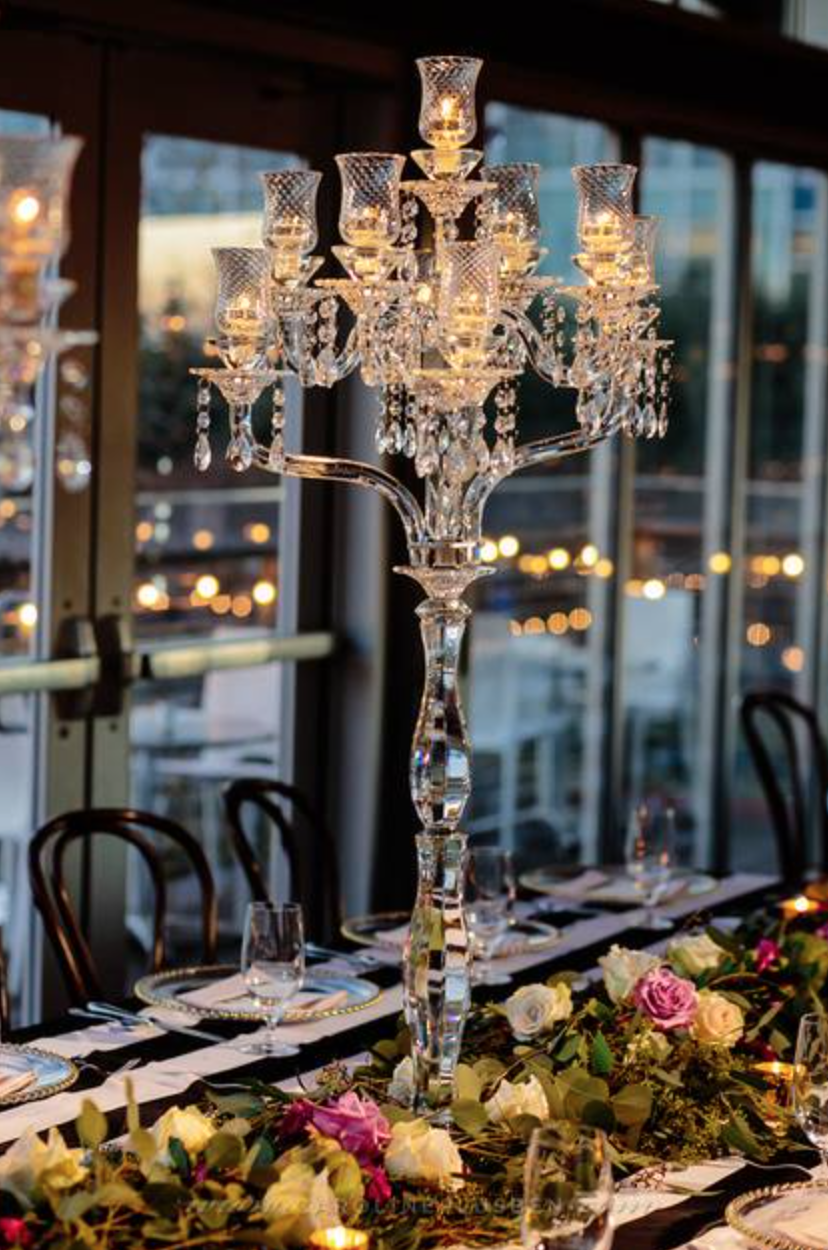 Maxit Flower Design, The Grove Houston, Houston Wedding, Crystal Candelabra